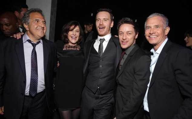 Jim Gianopulos, Lauren Shuler Donner, Michael Fassbender, James McAvoy, Hutch Parker